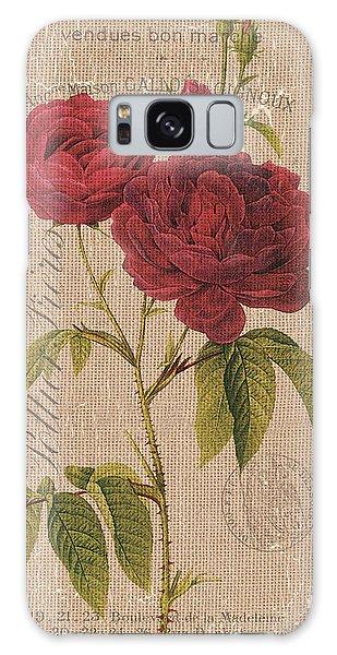 Botanical Garden Galaxy Case - Vintage Burlap Floral 3 by Debbie DeWitt