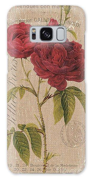 Bloom Galaxy Case - Vintage Burlap Floral 3 by Debbie DeWitt