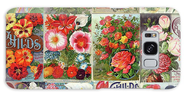 Vintage Childs Nursery Flower Seed Packets Mosaic  Galaxy Case by Peggy Collins