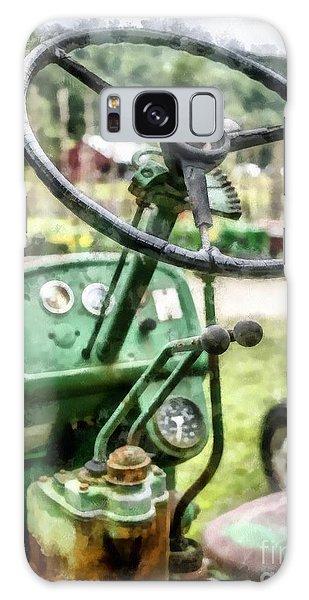 John Deere Galaxy Case - Vintage Green Tractor Steering Wheel by Edward Fielding