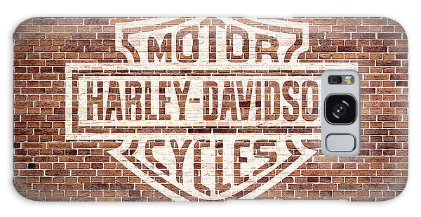 Harley Galaxy Case - Vintage Harley Davidson Logo Painted On Old Brick Wall by Design Turnpike