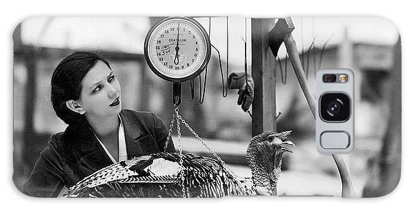 Vintage Holiday Card   Woman Weighing A Turkey Ahead Of The Holidays Galaxy Case