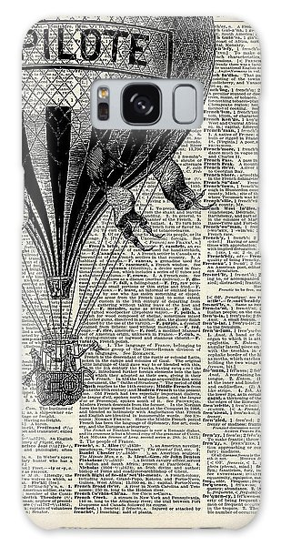 Old Galaxy Case - Vintage Hot Air Balloon Illustration,antique Dictionary Book Page Design by Fundacja Rozwoju Przedsiebiorczosci