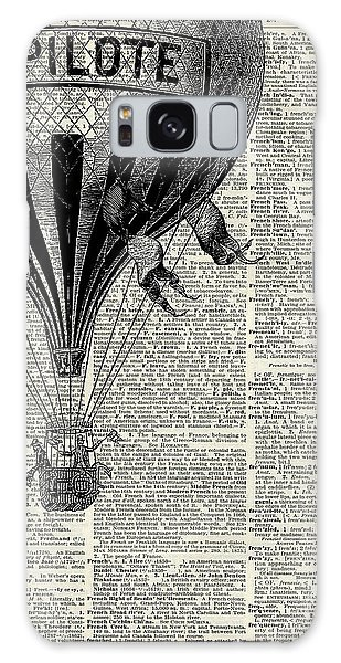 Poster Galaxy Case - Vintage Hot Air Balloon Illustration,antique Dictionary Book Page Design by Anna W