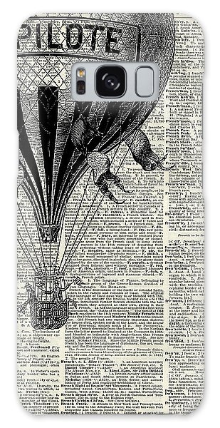 Place Galaxy Case - Vintage Hot Air Balloon Illustration,antique Dictionary Book Page Design by Anna W
