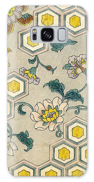 Vintage Japanese Illustration Of Blossoms On A Honeycomb Background Galaxy Case