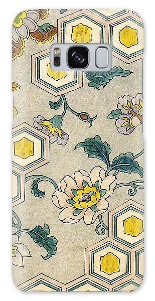 Flowers Galaxy Case - Vintage Japanese Illustration Of Blossoms On A Honeycomb Background by Japanese School