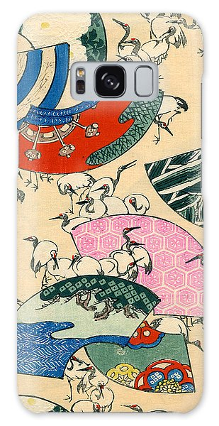 Vintage Japanese Illustration Of Fans And Cranes Galaxy S8 Case