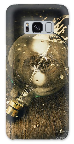 Vintage Light Bulb On Wooden Table Galaxy Case