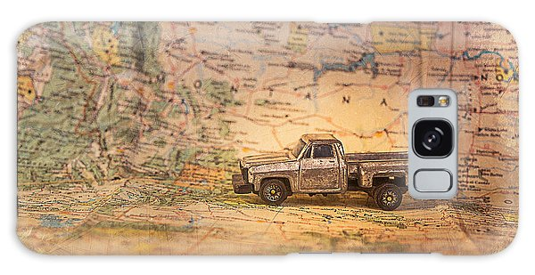 Vintage Map And Truck Galaxy Case by Mary Hone