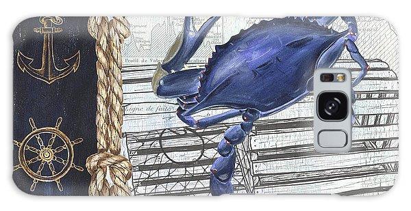 Atlantic Ocean Galaxy Case - Vintage Nautical Crab by Debbie DeWitt