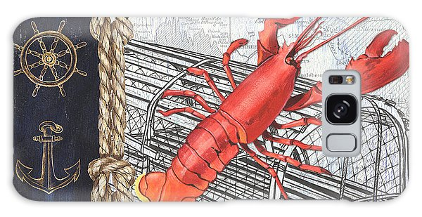 Atlantic Ocean Galaxy Case - Vintage Nautical Lobster by Debbie DeWitt