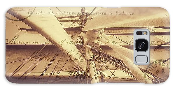 Vintage Nautical Sailing Typography In Sepia Galaxy Case