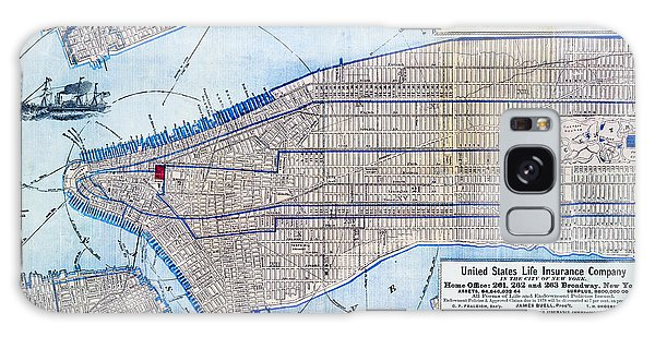 Usa Map Galaxy Case - Vintage New York Map by Delphimages Photo Creations