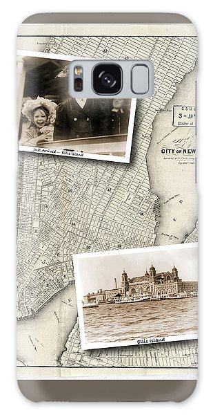 Vintage New York Map With Ellis Island Galaxy Case