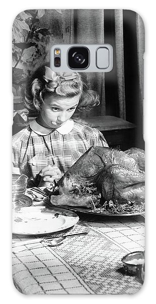 Vintage Photo Depicting Thanksgiving Dinner Galaxy Case by American School