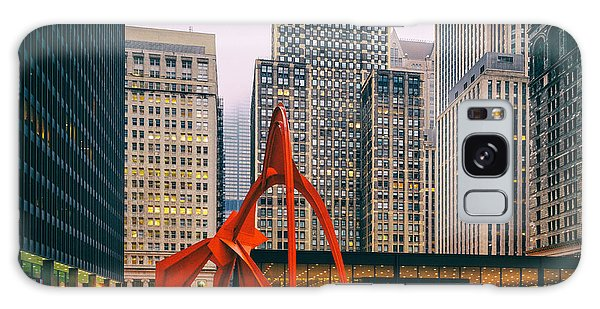 Vintage Photo Of Alexander Calder Flamingo Sculpture Federal Plaza Building - Chicago Illinois  Galaxy Case