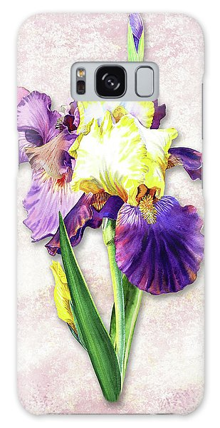 Galaxy Case featuring the painting Vintage Purple Watercolor Iris by Irina Sztukowski