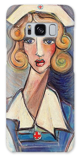Galaxy Case featuring the painting Vintage Red Cross Nurse by Laurie Maves ART