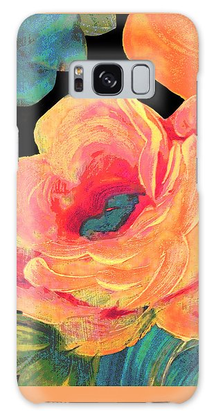 Galaxy Case featuring the painting Vintage Rose On Black by Lisa Weedn