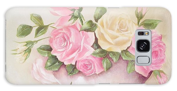 Vintage Roses Shabby Chic Roses Painting Print Galaxy Case