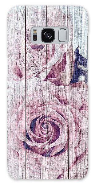 Vintage Shabby Chic Dusky Pink Roses On Blue Wood Effect Background Galaxy Case