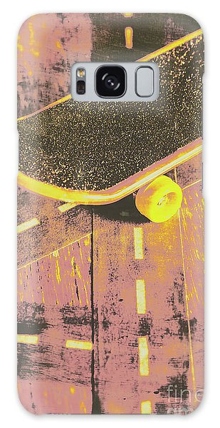 Sport Art Galaxy Case - Vintage Skateboard Ruling The Road by Jorgo Photography - Wall Art Gallery