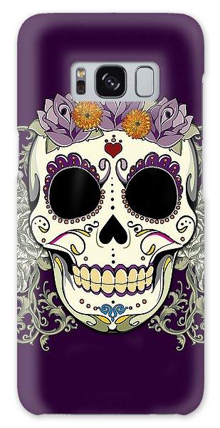 Calavera Galaxy Case - Vintage Sugar Skull And Flowers by Tammy Wetzel