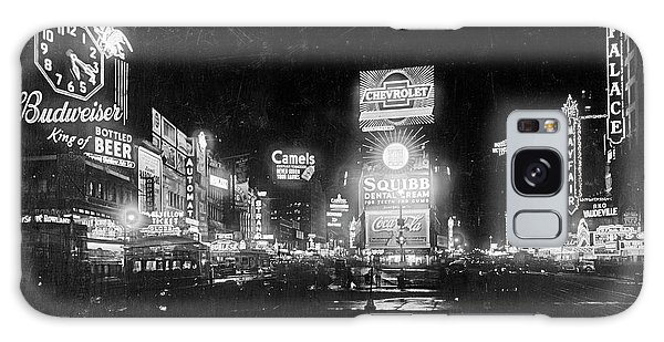 Vintage Times Square At Night Black And White Galaxy Case by John Stephens