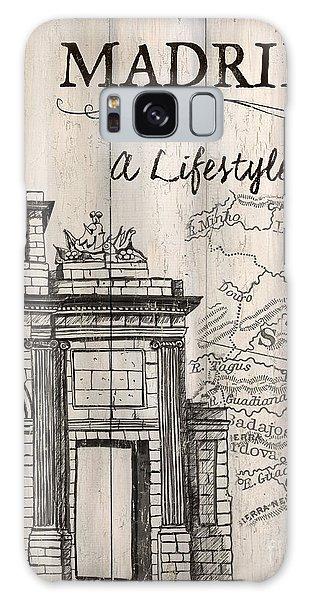 Vintage Camera Galaxy Case - Vintage Travel Poster Madrid by Debbie DeWitt