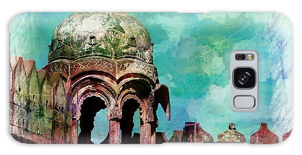 Vintage Watercolor Gazebo Ornate Palace Mehrangarh Fort India Rajasthan 2a Galaxy Case