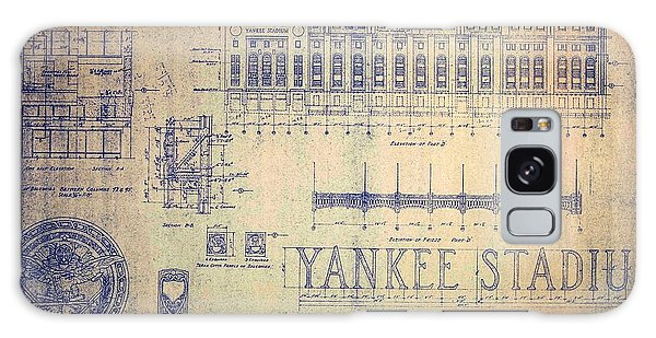 Vintage Yankee Stadium Blueprint Signed By Joe Di Maggio Galaxy Case by Peter Gumaer Ogden Collection
