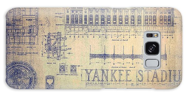 Vintage Yankee Stadium Blueprint Signed By Joe Dimaggio Galaxy Case