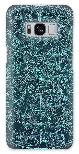 Vintage Zodiac Map - Teal Blue Galaxy Case