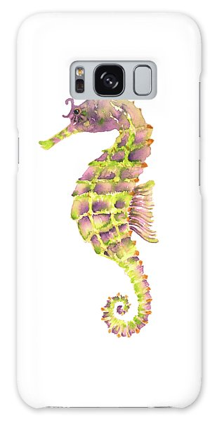 Violet Green Seahorse - Square Galaxy Case by Amy Kirkpatrick
