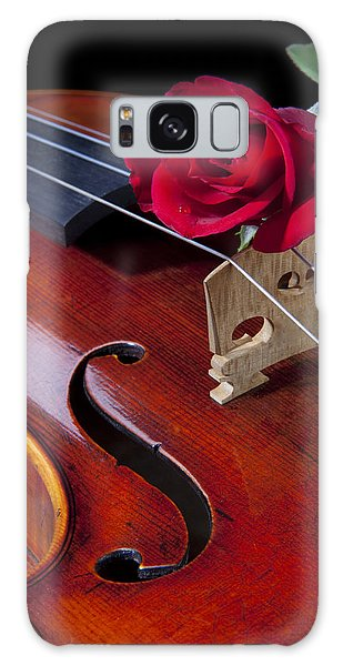 Violin And Red Rose Galaxy Case