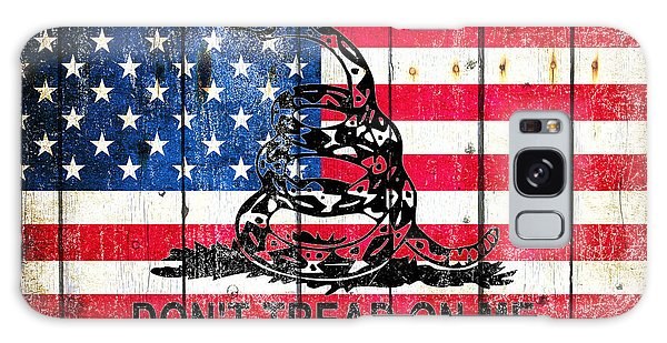 Viper On American Flag On Old Wood Planks Galaxy Case