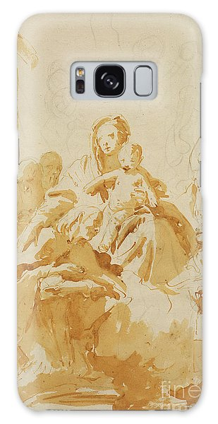 Pen And Ink Drawing Galaxy Case - Virgin And Child Adored By Bishops, Monks And Women by Tiepolo