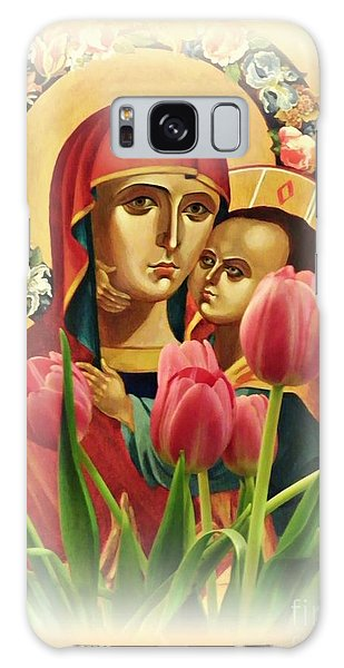Virgin Mary And Tulips      Galaxy Case by Sarah Loft