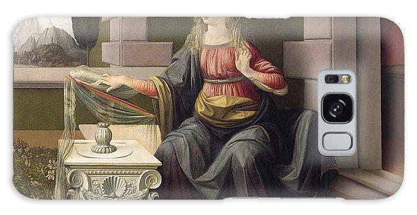 Annunciation Galaxy Case - Virgin Mary, From The Annunciation by Leonardo Da Vinci
