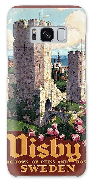 Stone Galaxy Case - Visby, Gotland, Sweden - Town Of Ruins And Roses - Retro Travel Poster - Vintage Poster by Studio Grafiikka