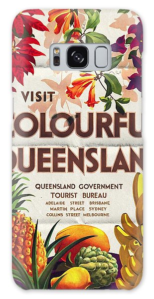Visit Colorful Queensland - Vintage Poster Folded Galaxy Case