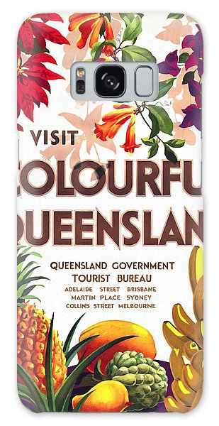 Visit Colorful Queensland - Vintage Poster Restored Galaxy Case