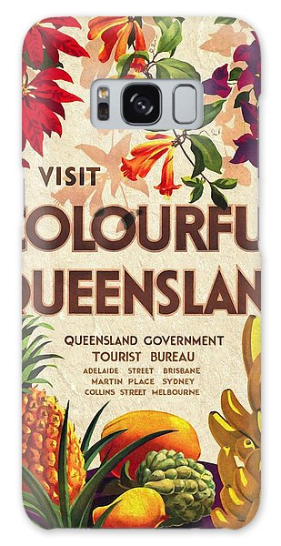 Visit Colorful Queensland - Vintage Poster Vintagelized Galaxy Case