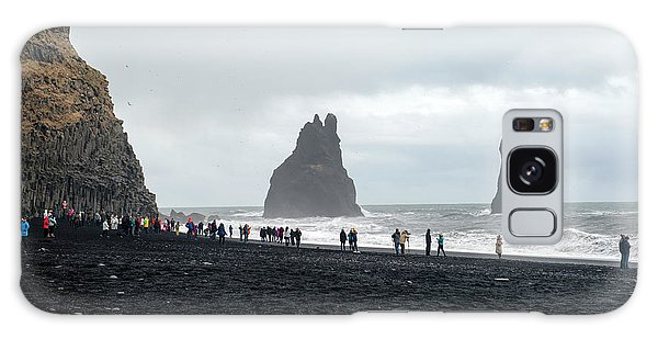 Galaxy Case featuring the photograph Visitors In Reynisfjara Black Sand Beach, Iceland by Dubi Roman