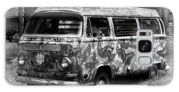 Galaxy Case featuring the photograph Volkswagen Microbus Nostalgia In Black And White by Bill Swartwout Fine Art Photography