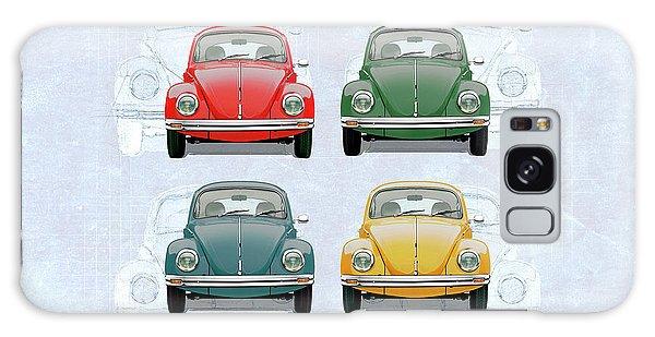 Volkswagen Type 1 - Variety Of Volkswagen Beetle On Vintage Background Galaxy Case