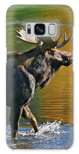 Galaxy Case featuring the photograph Wading Moose by Wesley Aston
