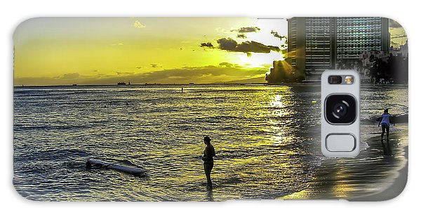 Waikiki Beach At Sunset Galaxy Case