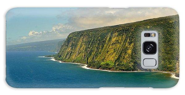 Waipio Waterfall Coastline Galaxy Case